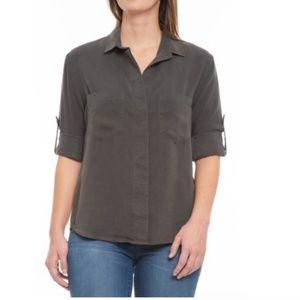 Anthropologie Cloth & Stone Gray Split Back Top